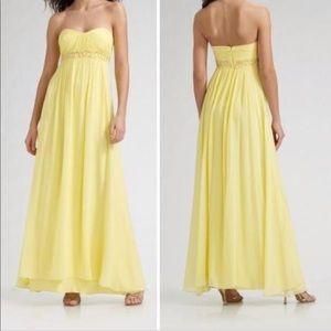 Bcbg Yellow Strapless Chiffon Dress Size 02